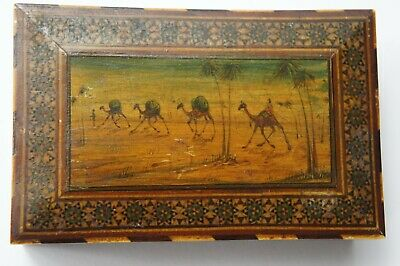 Vintage Egyptian Hand Painted Miniature Oasis Camel Palm Sadeli Work Wood Box