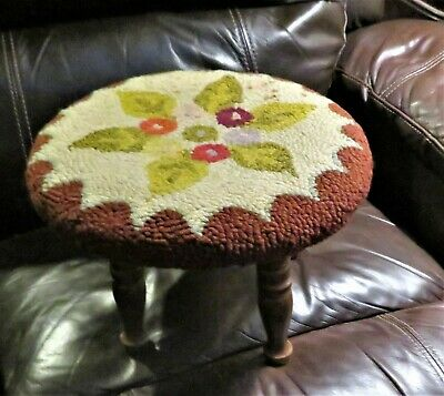Antique Vintage Needlepoint Floral Foot Stool Round Shape