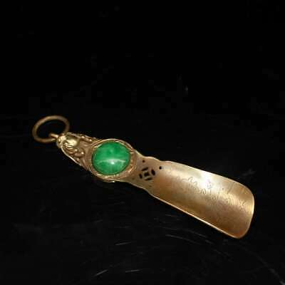 Chinese antiques antique collection bronze jade inlaid pure copper shoehorn