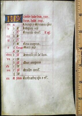 Medieval Illuminated Vellum Manuscript Lf,BoH.Calendar,October,Gold init.ca.1460