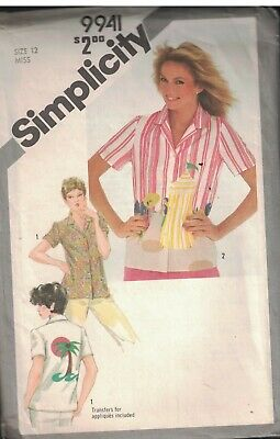 9818 UNCUT Simplicity SEWING Pattern Misses Loose Fitting Shirt