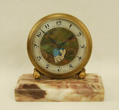 Antique Le Petit Forgeron Animated Cupid Clock w/ Marble Base - Swiss - Working