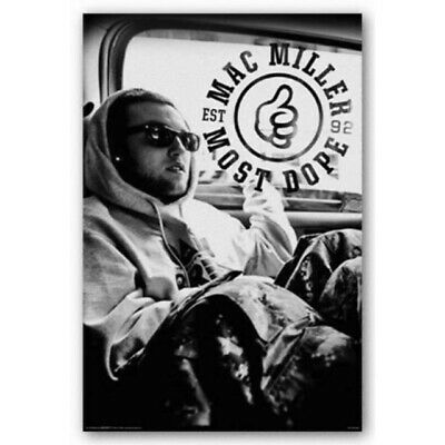 Aquarius Mac Miller Black and White Poster