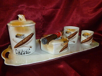 Czechoslovakian ART DECO TABAC SMOKING SET Vintage 5 PIECE Victoria China Czech