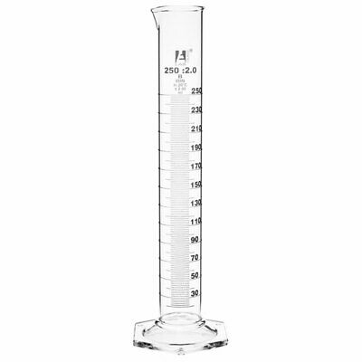 LabGlass Cylinder Hexagonal Base with Spout 250ml Class 'A' Pack of 2