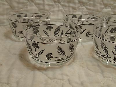 """VTG Libbey Rock Sharp Silver Wheat Leaf Frosted 5 Small Snack Fruit Bowls 4"""""""