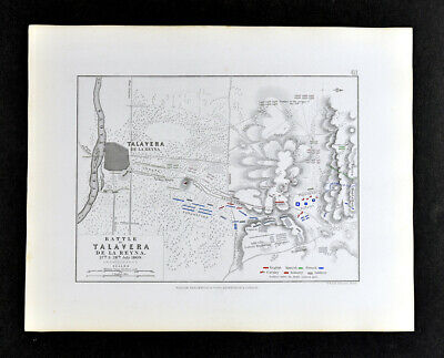 1855 Johnston Military Map Napoleon Battle of Talavera de la Reyna Spain 1809