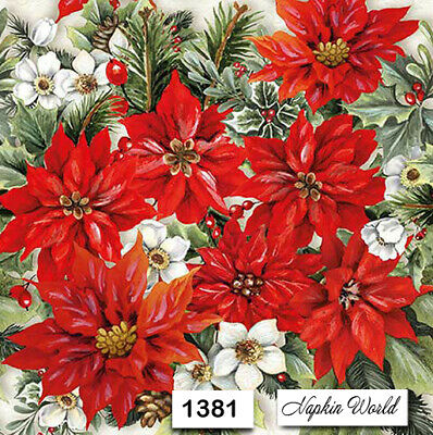 (1381) TWO Individual Paper Luncheon Decoupage Napkins - CHRISTMAS POINSETTIAS