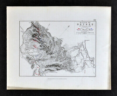 1855 Johnston Military Map Napoleon Battle of Orthes or Orthez France Wellington