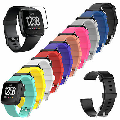 [3-PACK] Tempered Glass + Replacement Silicone Band Strap For Fitbit Versa Watch