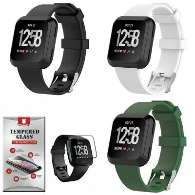 3-PACK Silicone Band Straps Large With [3-Pack] Tempered Glass For Fitbit Versa