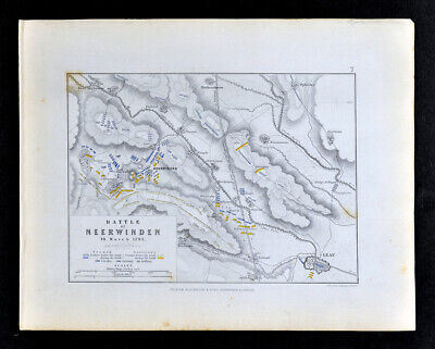1855 Johnston Military Map Battle of Neerwinden French Revolution 1793 Belgium