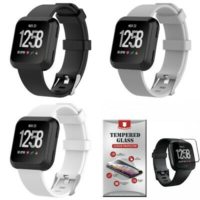 For Fitbit Versa 3-PACK Silicone Band Straps Small + Tempered Glass Black Gray