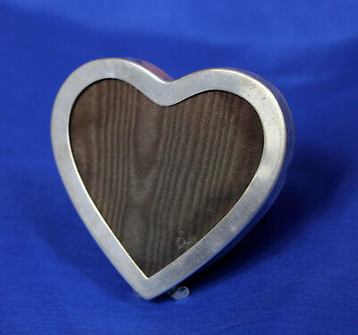 "Nice 2.75"" Antique Sterling Silver Heart Shaped Picture Frame Photography"