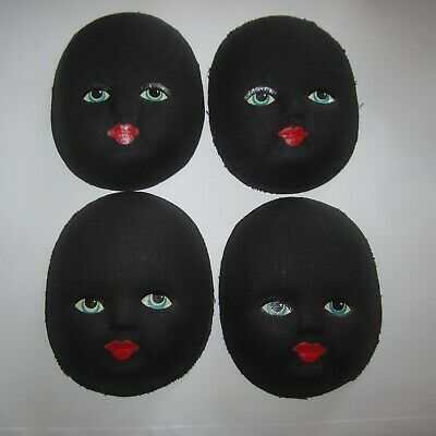 Black Fabric Mache Doll Face 1940s 1950s Vintage Craft Sewing New 12 available