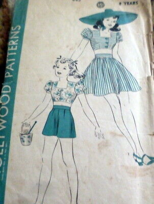 LOVELY VTG 1930s GIRLS PLAYSUIT HOLLYWOOD Sewing Pattern 8