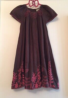 Next Cotyon Brown Girls Dress With Embroidery. Aged 6. Immaculate.