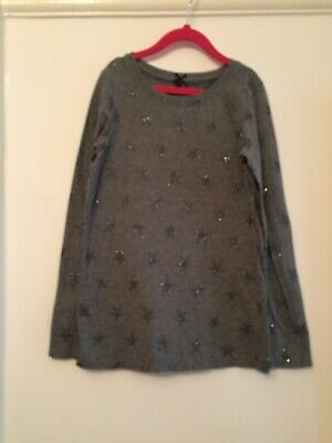Next Grey Girls Top With Sparkle Stars. Aged 10 Years. Goid Condition.