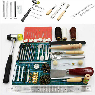 44Pc Retro Leather Craft Tools Kit Stitching Sewing Beveler Punch Work Hand Tool
