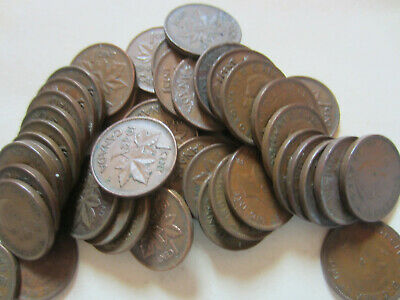 Roll of Canada King George VI Small Cents Coins. 10 Pennies of Five Dates