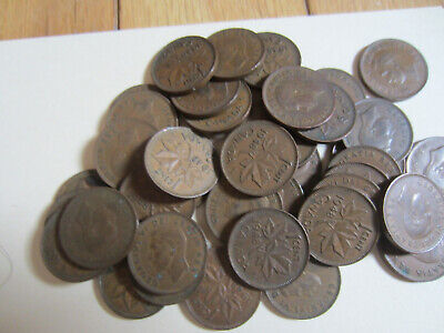 Roll of Canada King George VI Small Cents Coins. 10 Pennies of 1947-48,1950-1952