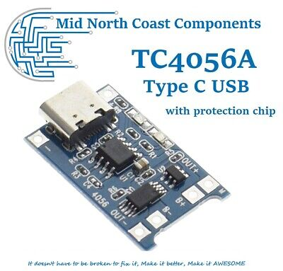 Type C USB 5V 1A 18650 TP4056 Lithium Battery Charger Module W Protection Chip