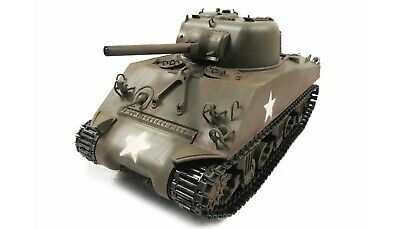 Amewi RC Carro Armato M4A3 Sherman Metallo Esercito Verde Rtr ,True Sound 2 4GHz