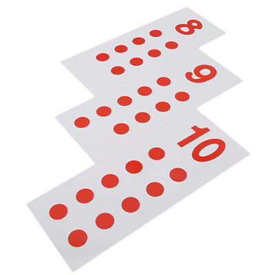 10pcs Kids Montessori Cards & Counters Math Number 1-10 Early Training Toys HC