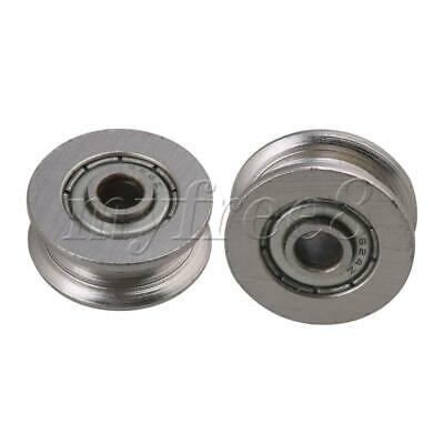 4 x 18 x 7mm Bearing Steel Guide Rail Pulley Passive Round Wheel Pack of 2