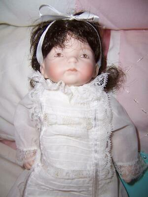 Reproduction Porcelain Antique Pouty Face Child Baby Doll Soft Body Brown Hair