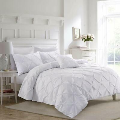 Pinch Pleated Pintuck White Duvet Cover Set 100% Cotton Double King Bedding Sets