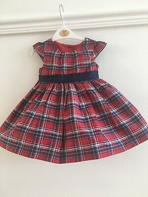Baby Girls Red And Blue Tartan Dress Age 3-6 Months Christmas Outfit Mothercare