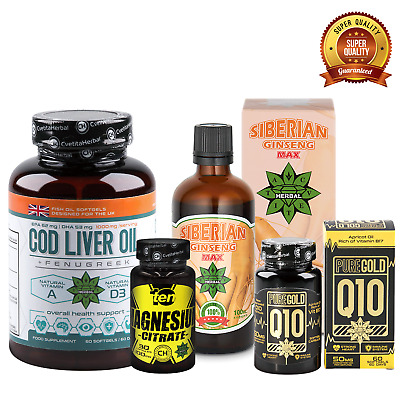 Immunity Supplements BUNDLE Cod Liver Ginseng Magnesium Coenzyme Q10 Strong BODY