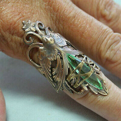 Vintage 925 Silver Emerald Zircon Ring Women Jewelry Anniversary Gift Size6-10