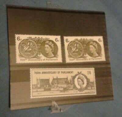 700th Anniversary of Parliament GB Stamps 2 x 6d 1 x 2s 6d 1965 Unfranked