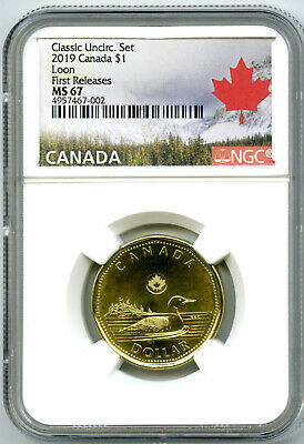 2019 Canada $1 Classic Loon Ngc Ms67 First Releases Uncirculated Loonie