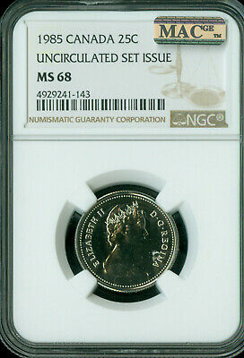 1985 Canada 25 Cents Ngc Mac Ms68 Pq 2Nd Finest Registry Spotless *