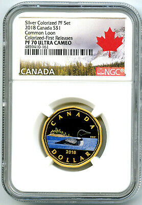 2018 Canada Silver Proof Loonie Dollar Ngc Pf70 Gilt Colored Loon Fr Ex Rare !