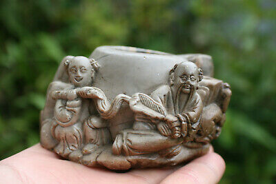 Chinese Soapstone Hand Carved Figures Small Brush Wash Pot