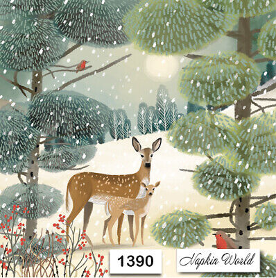 (1390) TWO Individual Paper Luncheon Decoupage Napkin - DEER FOREST WINTER ROBIN
