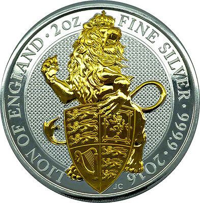 2 OZ Silber Großbritannien 2016 The Queen´s Beasts  Lion of England gilded