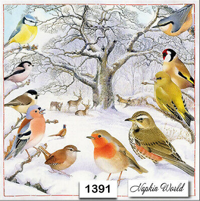 (1391) TWO Individual Paper Luncheon Decoupage Napkin - BIRDS FOREST WINTER DEER