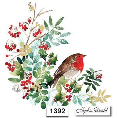 (1392) TWO Individual Paper Luncheon Decoupage Napkin - BIRD ROBIN HOLLY BERRIES