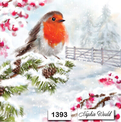 (1393) TWO Individual Paper Luncheon Decoupage Napkins - BIRD ROBIN BERRIES SNOW