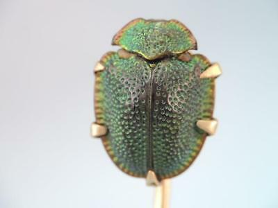 Victorian 14K Solid Gold Genuine Natural Egyptian Beetle Scarab Stick Pin Kohn