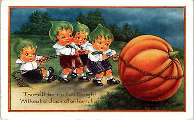 HALLOWEEN GREETING Cute Kids Pull JACK-O-LANTERN   c1910s  Whitney  Postcard