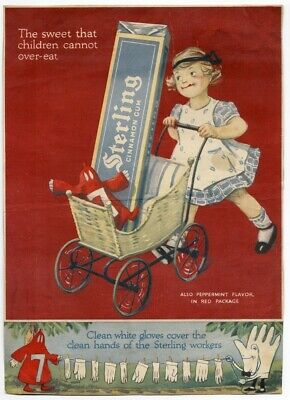 Cinnamon STERLING GUM AD 1905 era COLOR Girl w Buggy 7 RED DOLL rare CHEWING