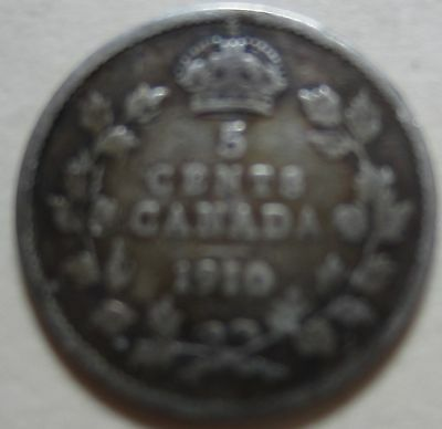 1910 RL Canada Silver Five Cents Coin. KEY DATE NICE GRADE (RJ34)