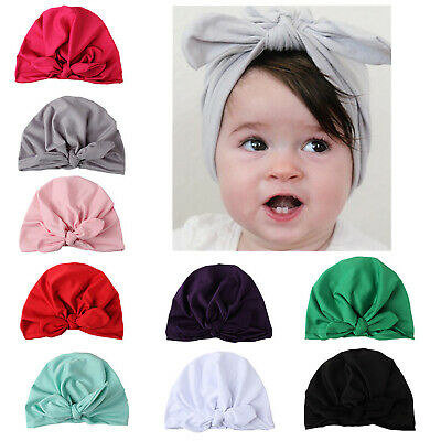 Baby Girls Turban Knot Head Wrap Cute Kids Rabbit Ear Hat Bunny Solid Beanie Cap