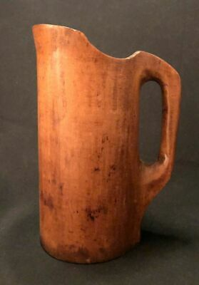 """Late 18th-Early 19th C Turned Maple Noggin Treenware, Graceful Lip Large 10 1/4"""""""
